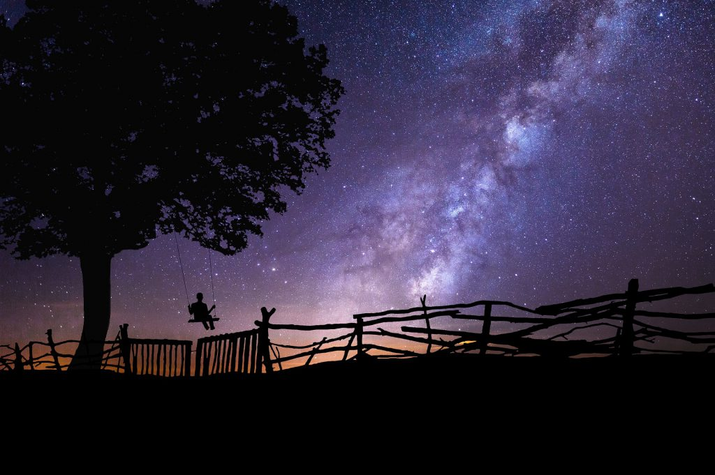 shadow silhouette of a person swinging on a tree branch by a fence, with a starry night sky above