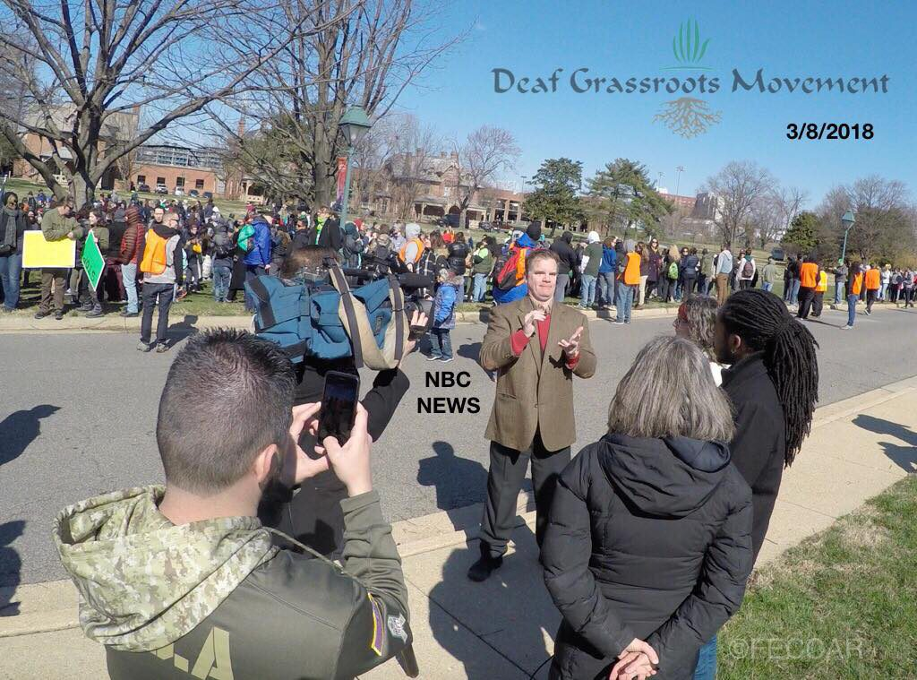 Sean Markel is interviewing with news during DGM march