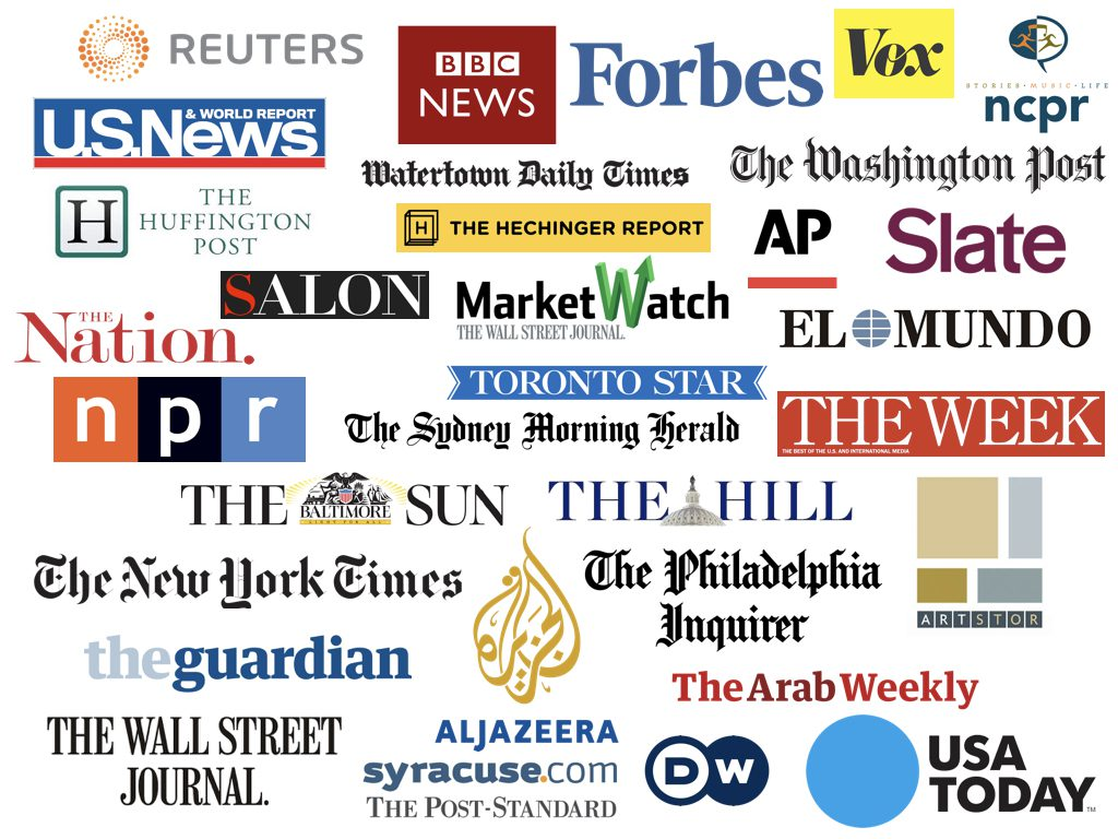 collage of logos of all the major news outlets such as cnn us news npr etc