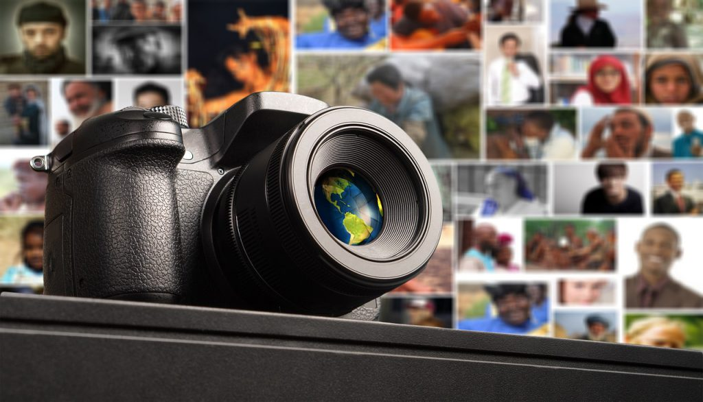 image of camera with collage of people behind it